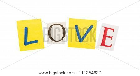 Love cut out of letters