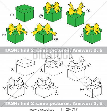 Visual game. Find hidden couple of Gift