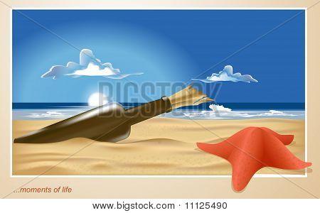Vektor von einem einsamen Strand mit einer Flasche und Seestern