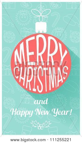 Christmas Card In Retro Style. Flat Design. Vector
