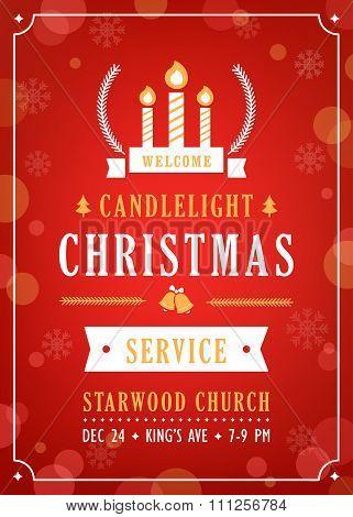 Christmas Candlelight Service Church Invitation.