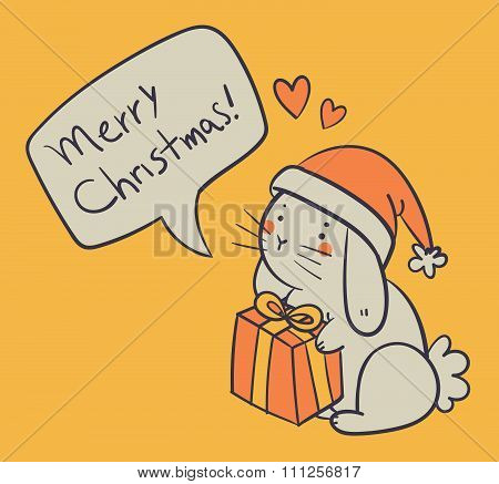 Hand Drawn Bunny Holding A Present And Wishing A Merry Christmas