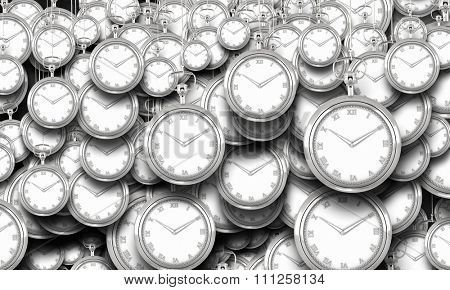 Many pocket watch hanging from above on concrete wall
