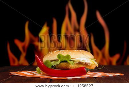 Burger and red chilli pepper