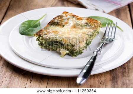Portion Of Tasty Spinach Lasagna.