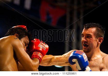 Muay Thai Boxers Punch Head Sweat