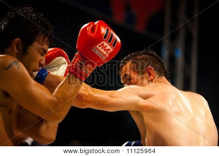 Muay Thai Boxers Left Punch Head Sweat