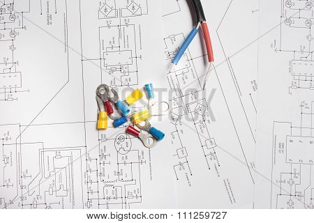 Colored Heat Shrink Tubing, Wire And Terminals