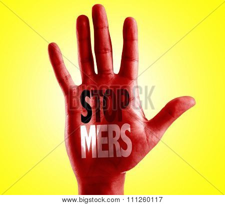 Stop Mers written on hand with yellow background