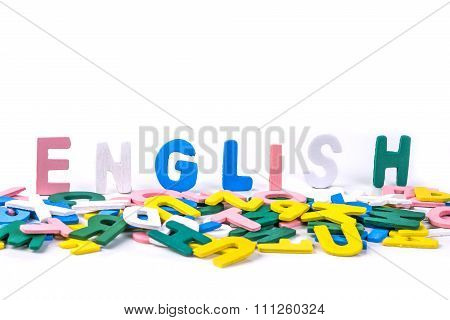 Cute Color Wooden English Words On White Background For English Learning  Concept