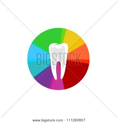 Tooth With Rainbow Colorful Sectors Sign