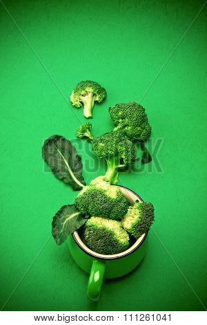 Fresh Broccoli On Green Background , Nature Green Food Concept