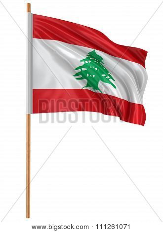3D flag of Lebanon with fabric surface texture