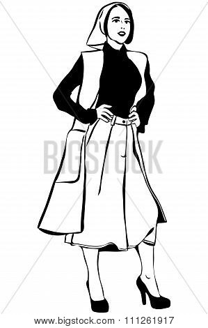 Vector Sketch Of A Beautiful Girl In A Scarf And Cardigan