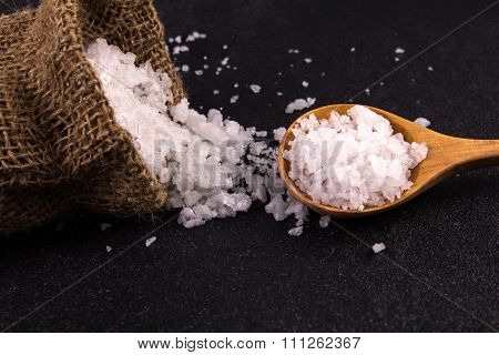 Salt Crystals On Black Stone Plate Background , Selective Focus