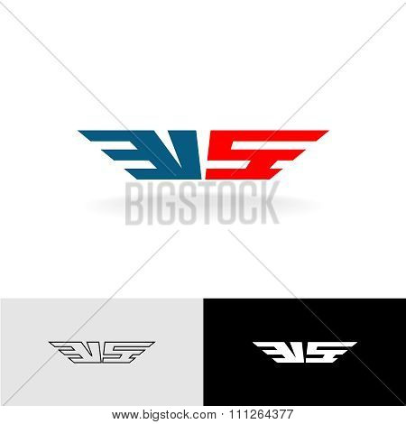 Letters Vs Stylized Logo. American Flag Colors.