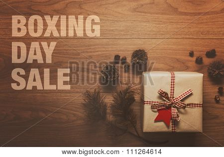 Boxing Day Sale theme background on wooden table