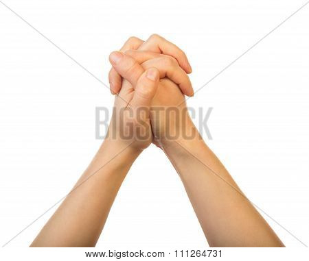 Woman hands praying isolated