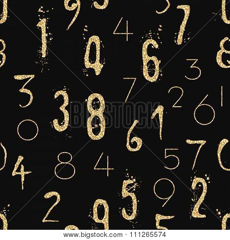 Numeral seamless pattern with glitter sparkle surface.