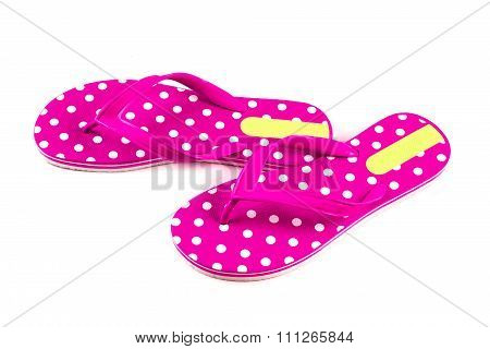 Summer Fashion Pink Flip Flop Sandals Isolated On White Background