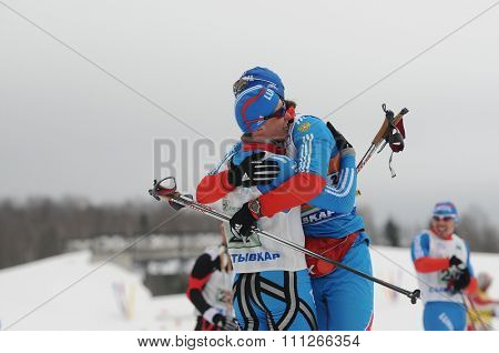 SYKTYVKAR, RUSSIA - APRIL 02, 2013: photo of sportsman during the Russian cross-country ski championship-2013. It had been run by Cross-country ski Federation of Russia in Syktyvkar.