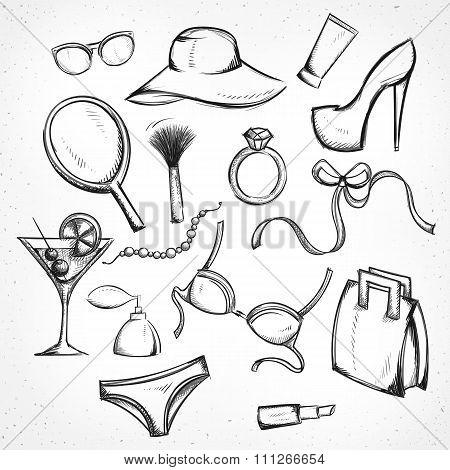 Set monochrome sketch female accessories. Imitation of pen