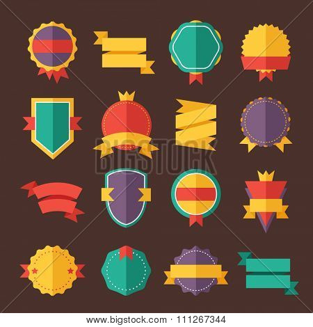 Modern flat design badges collection. Vector badges flat modern style. Vintage, retro flat badges, labels and ribbons. Badges isolated, modern flat solid style. Badges icons, badges vector. Badges