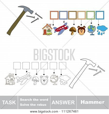 Vector game. Search the word. Find hidden word Hammer