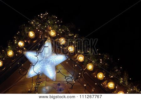 Christmas background with glowing star