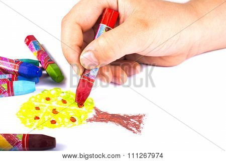 Multicolored Crayons Painting