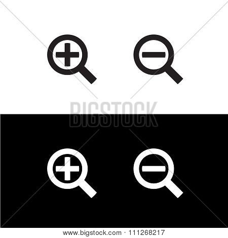 Simple Black Zoom Magnify Glass Plus And Minus Icons