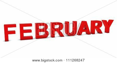 February Red 3D Month Text Isolated On White