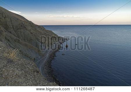 The Trail Runs Along The Seafront. Crimea.
