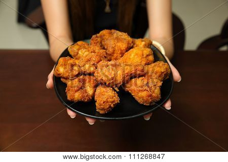 Fried Chicken On wooden Background
