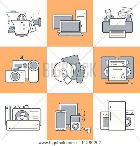 Home electronics icons set