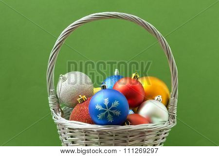 Christmas Balls In A Basket