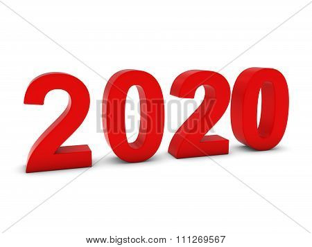Red 2020 3D Numbers - Year Twenty Twenty Isolated On White