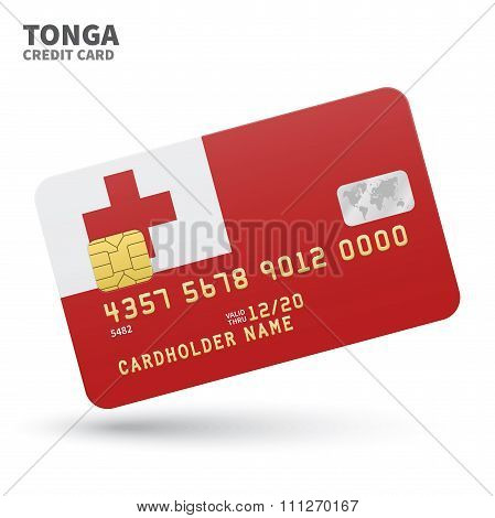 Credit card with Tonga flag background for bank, presentations and business. Isolated on white