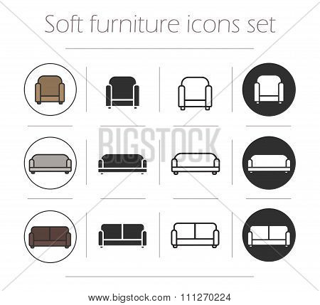 Soft furnishing icons set