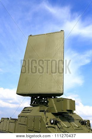MOSCOW REGION - AUGUST 27: Military mobile radar station consisting of the all around antenna and command post on a rotating platform on August  27, 2015 in Moscow region