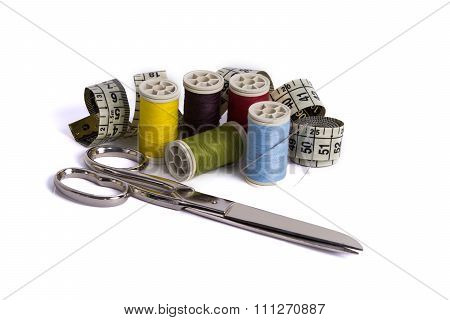 Spools Of Thread, Tape Mesurement And Scissor