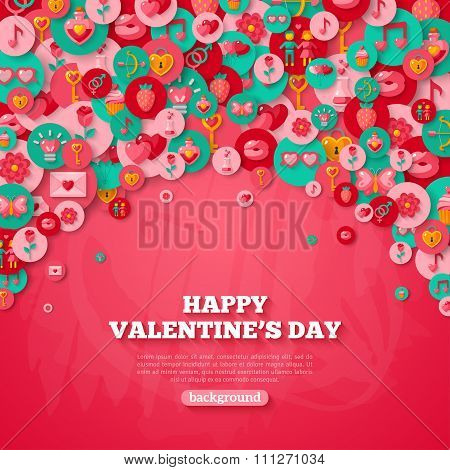 Valentine's day Background with Circle Flat Icons.