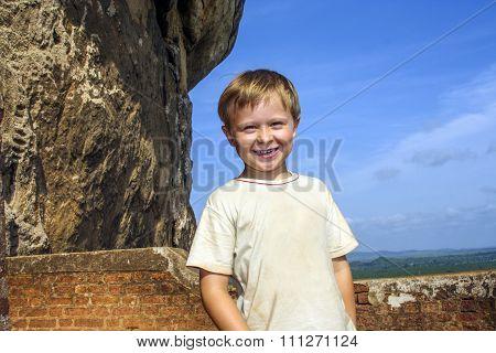 Boy Enjoys Sightseeing In Sri Lanka