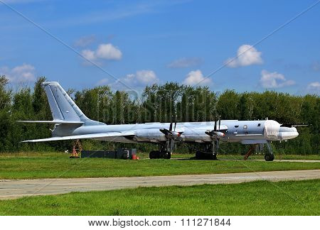 RYAZAN REGION  -  JULY 30: Russian long-range strategic bomber Tu-95   -  on July  30, 2015 in Ryazan region