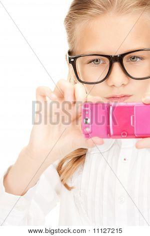 Happy Girl Aufnahme mit Handy
