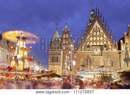 WROCLAW, POLAND - DECEMBER 12, 2015: Christmas Market