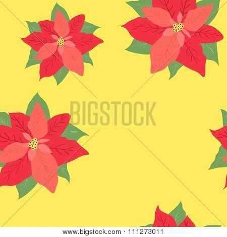 Flower Christmas Star - Poinsettia On Yellow Background Texture Seamless