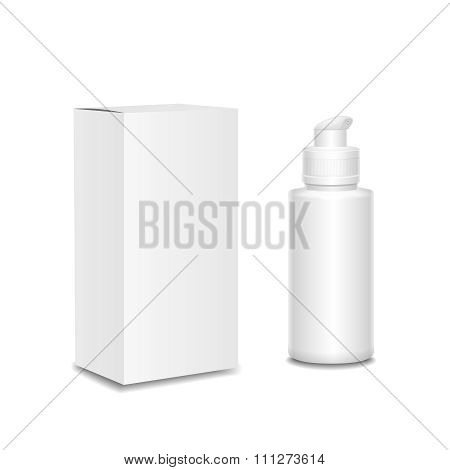 White cosmetics containers,  Plastic bottle with a spray and box. Vector