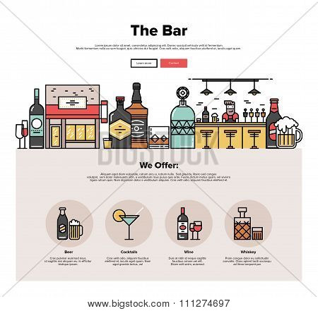 Local Bar Flat Line Web Graphics