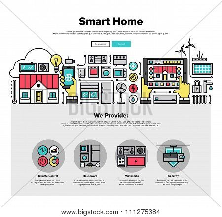 Smart Home Flat Line Web Graphics